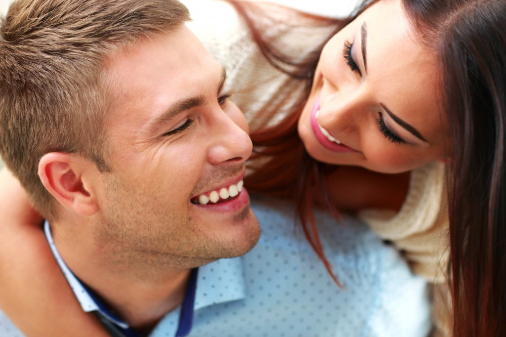 Closeup portrait of a smiling couple